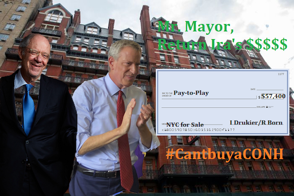 Mayor de Blasio: Return Born and Drukier's Money!