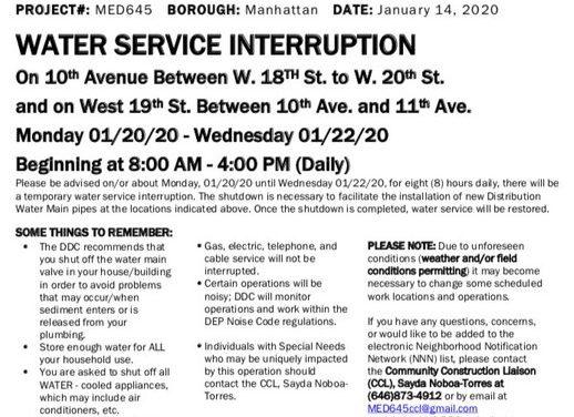 Water Service Interruptions Raining Down on Chelsea, Jan. 20-22