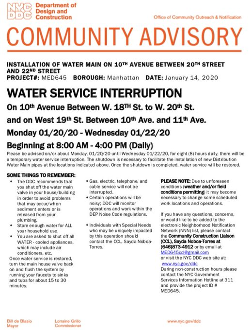 Water Service Interruptions Raining Down on Chelsea, Jan. 20-22